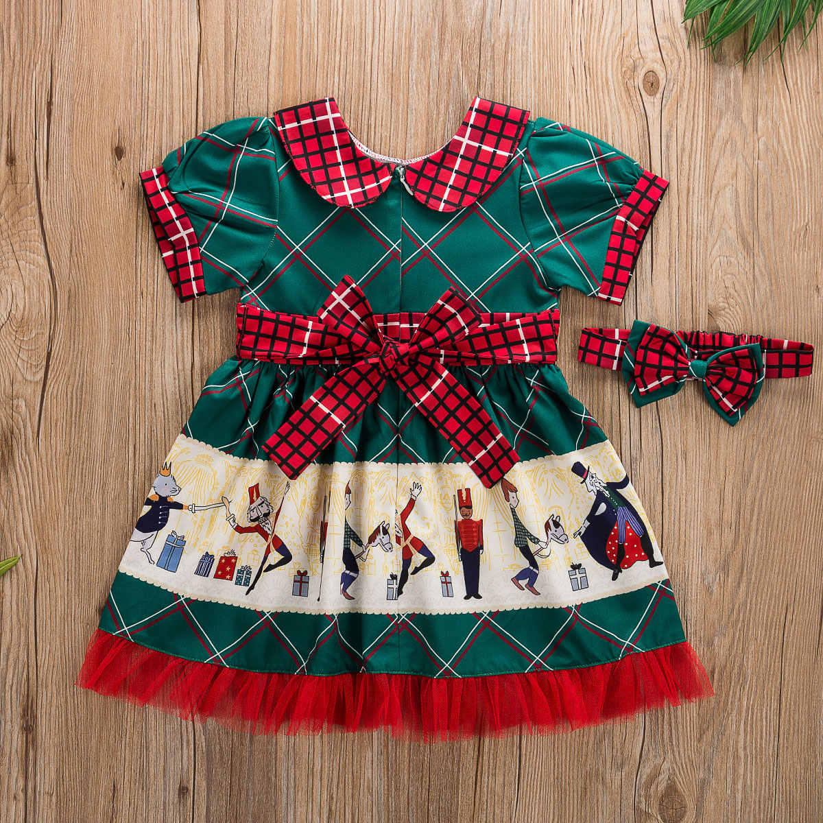 UK Christmas Toddler Kid Baby Girl Xmas Festival Flared Party Santa Swing Dress