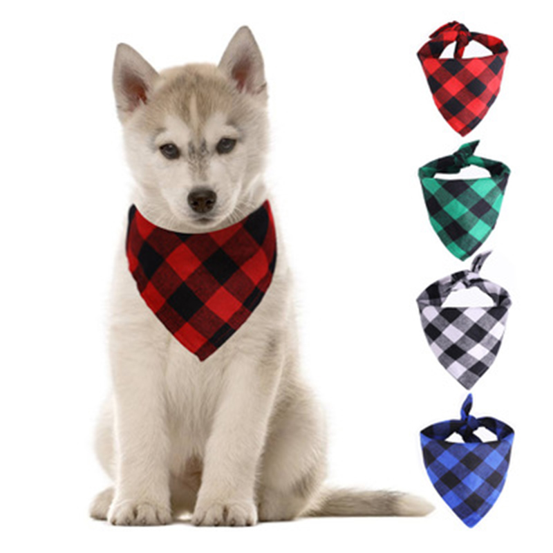 Red Green Blue White Plaid Pet Bibs Scarf Cotton Double Thickening Pet Bandana For Small Large Cats Dogs