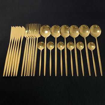 24 sztuk złota zestaw obiadowy ze stali nierdzewnej stalowe sztućce zestaw widelec-nóż-łyżka zestaw stołowy zestaw sztućców zestaw sztućców pudełko na prezent tanie i dobre opinie uniturcky CN (pochodzenie) Zachodnia Metal STAINLESS STEEL Barwiona Stałe Ce ue Lfgb Ekologiczne Zaopatrzony 1013-Mir-Gold