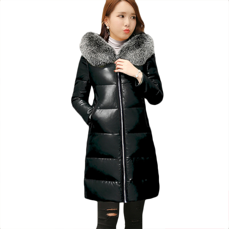 Winter Plus size PU   leather   Down cotton Jacket Women casual long Jackets Womens Thick Warm Down cotton   Leather   Jackets 4XL F1085