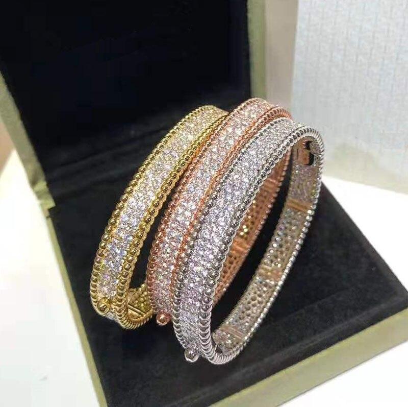 Marque Pure 925 bijoux en argent pour les femmes couleur or pleine pierre bracelet en or Rose trèfle bracelet bijoux de mariage autour de perles bracelet