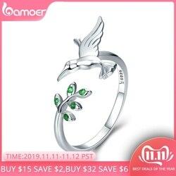 BAMOER otantik 925 ayar gümüş kuş ve bahar ağacı yaprakları açık boy parmak yüzük kadınlar için gümüş takı SCR323