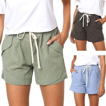 Womens Summer Drawstring Mid Rise Cotton Linen Shorts Elastic Waist Casual Solid Color Beach Pants Loose Trousers With Pockets grey casual drawstring waist zipper design pants with four pockets
