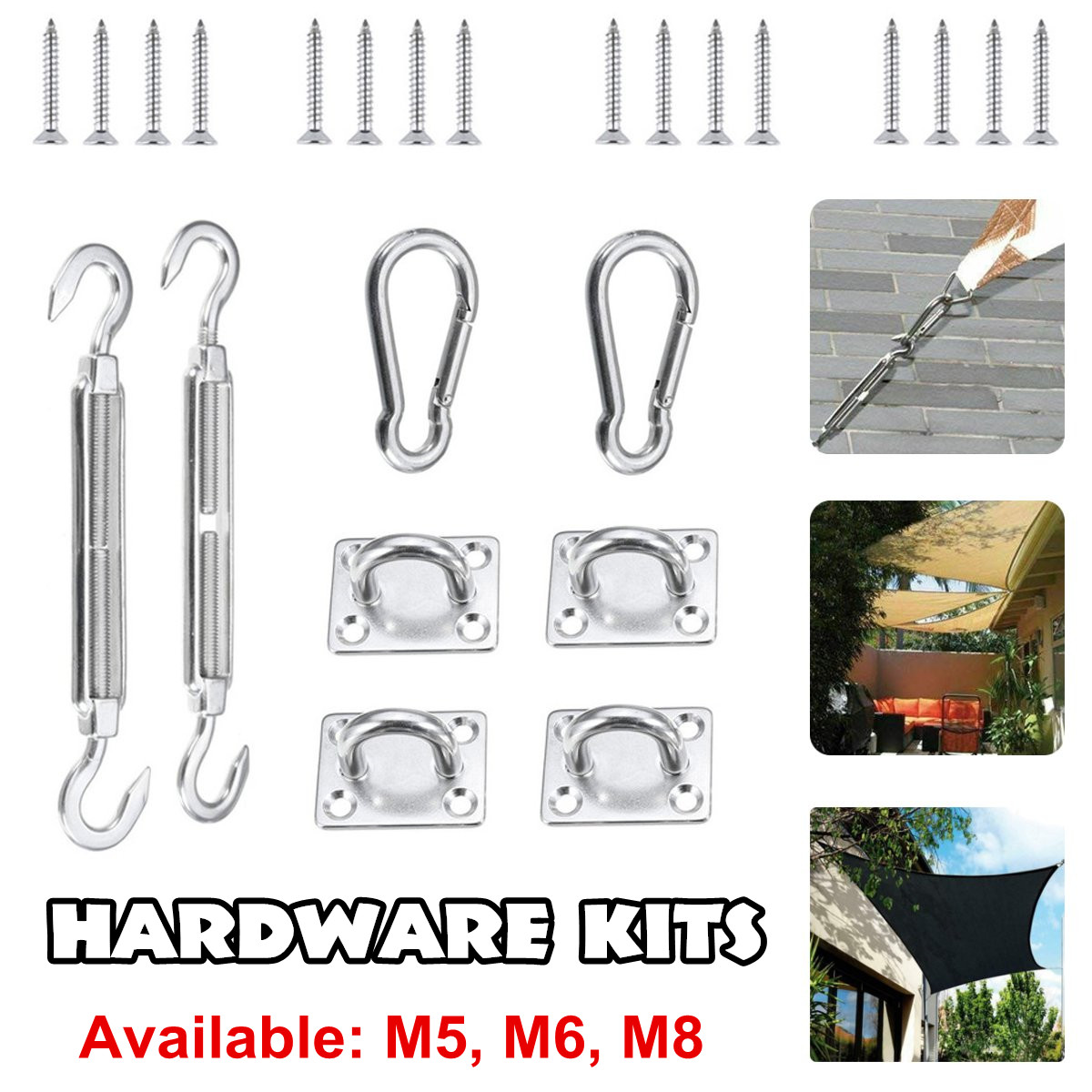 Stainless Steel Sun Sail Sun Shelter Fitting Kits <font><b>Turnbuckle</b></font> Snap Hook Pad Eye Screw Awning Special Fixed Accessories M5/M6/M8 image