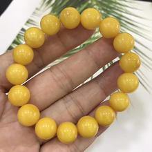 11.2mm למעלה טבעי צהוב אמבר חן עגול חרוזים צמיד נשים גברים ריפוי למתוח רייקי ענבר תכשיטי תעודת AAAAA