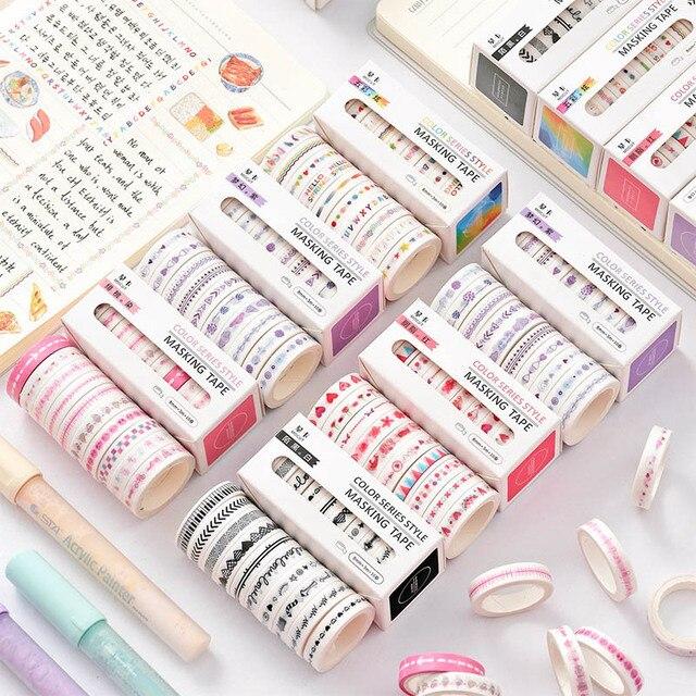 10Pcs/Box Kawaii Cartoon Print Washi Tape Narrow Colorful Masking Tapes For Kids Scrapbooking DIY Diary Decor Stationery Tapes