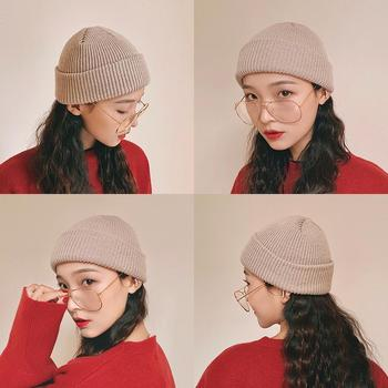 Women beanie sleeve cap knit cotton pure color simple No brim multicolor high quality Popular girl hat outdoors