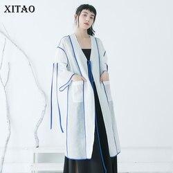 XITAO Sun Protection Thin Drawstring Blouse Long Women Clothes 2020 Spring New Pocket V Neck Full Sleeve Shirt Top DMY3518