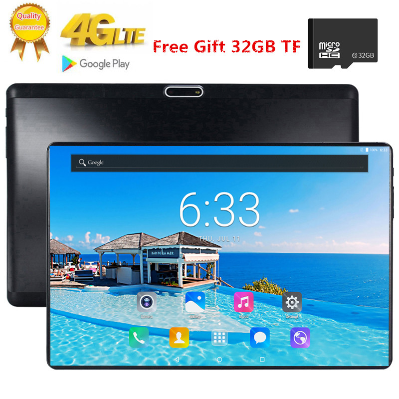 Free Gift 32GB TF Card 1920X1200 2.5D Tempered Glass Screen 10.1 Inch Octa Core 3G 4G FDD LTE Tablet 3GB RAM Android 7.0 Tablets