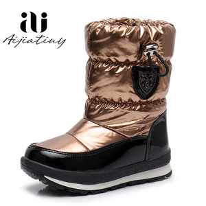 Image 4 - Russia childrens winter boots ankle kids snow boots girls winter shoes Fashion wool boys waterproof boots