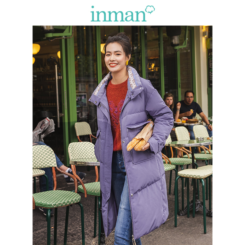 INMAN 2019 Winter New Arrival Stand Up Collar Multipurpose Pocket Solid Warm Women Long   Down     Coat