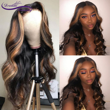 Highlight Honey Blonde Lace Front Human Hair Wigs Pre Plucked Brazilian Remy Hair 180Density Ombre 13x6 Wavy Lace Front Wig