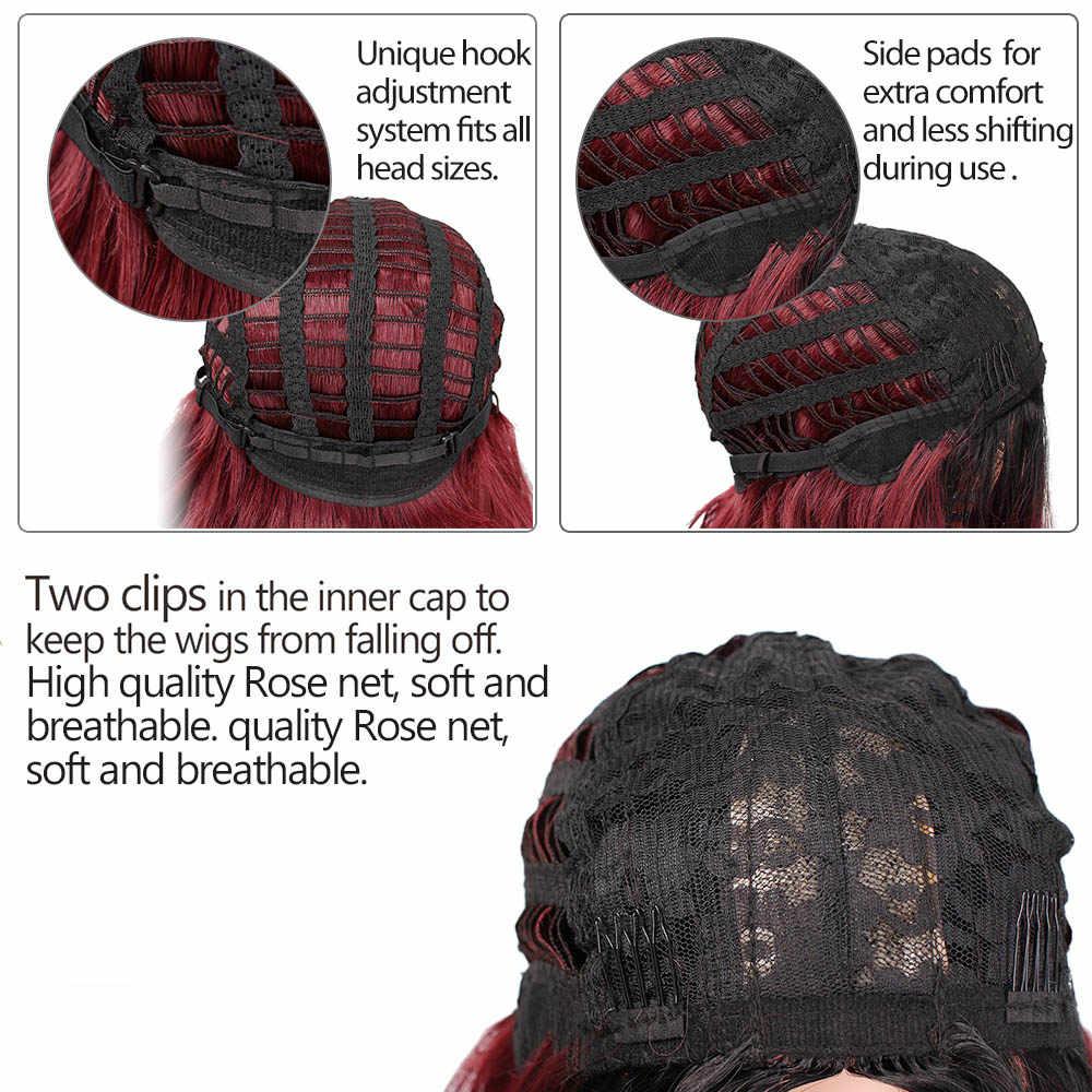 Stamped Glorious 24 Inches Wave Pruik Ombre Zwart Rood Pruik Synthetische Lange Pruik Voor Vrouwen Midden Deel Hittebestendige Vezel haar