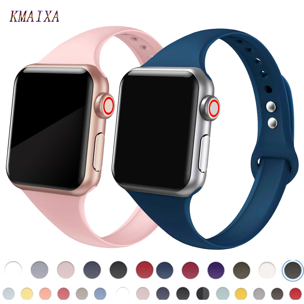 Strap For Apple Watch 5 Band 44mm 40mm Iwatch Band 42mm 38mm Slim Silicone Correa Pulseira Apple Watch 5 4 3 Watchband Bracelet