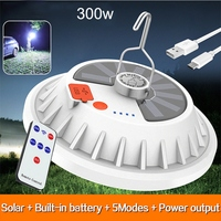 300W Solar Led-lampe Lampe USB Aufladbare Outdoor Camping Zelt Laterne Tragbare Notfall Beleuchtung Nacht Markt Licht Power Bank