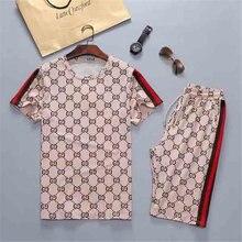 2021 nova camisa masculina + calções esportivos definir verão respirável casual camiseta correndo conjunto moda harajuku impress
