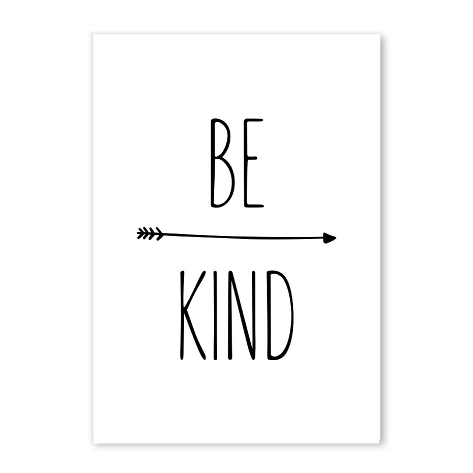 Black White Minimalist Print Be Kind Quote Wall Art Canvas Painting Printable Poster Pictures For Kids Room Decor Home Decor Painting Calligraphy Aliexpress