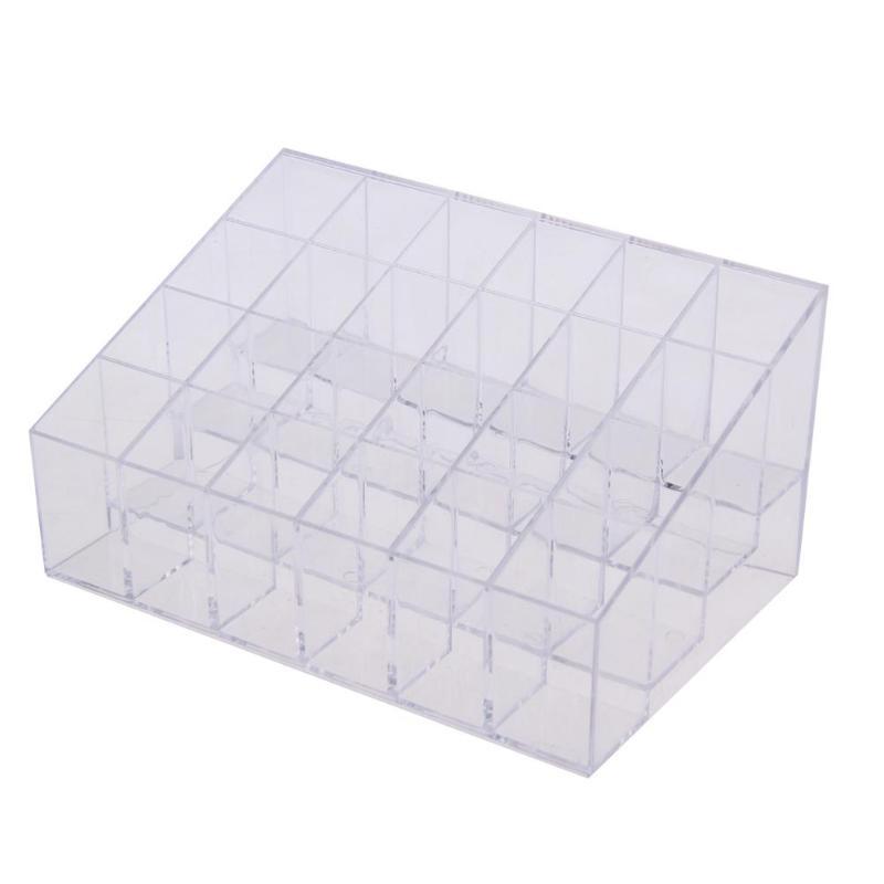 24 Сетки акриловый держатель для хранения макияжа Органайзер коробка для хранения косметики коробка для помады шкатулка Чехол Держатель Дисплей Стенд