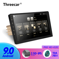 1 Din Car Android 9.0 Radio Multimedia Player PX6 4G RAM 32G ROM GPS Navigation IPS Screen TDA 7851 Fast Boot