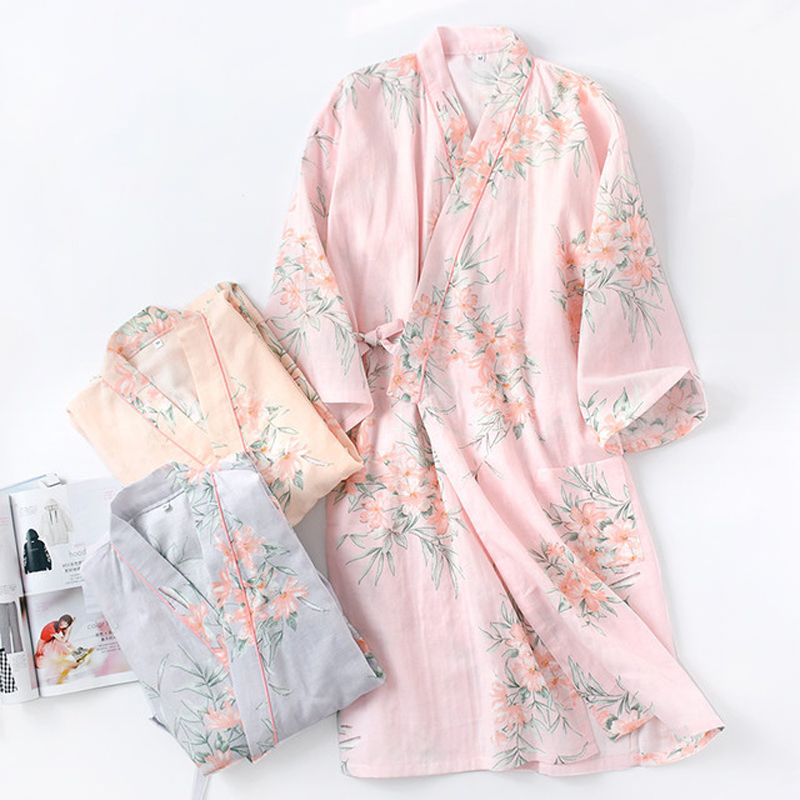 Spring Summer 100% Cotton Kimono Bathrobe Nightgown Women'S Japanese Style Long Nightgown Flower Lingerie Sweat Steam Clothing