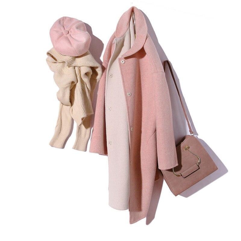 Titotato/новое зимнее женское пальто розового цвета, куртка, пальто, настоящее свободное, 2019, двустороннее шерстяное пальто, Manteau Femme Hiver, топ на п... - 5