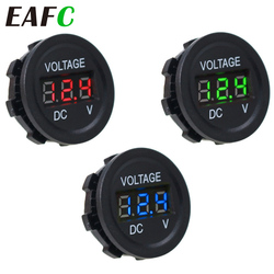 Round Waterproof Auto Boat Car Motorcycle DC6V-30V LED Panel Mini Digital Volt Voltage Meter Tester Monitor Display Voltmeter