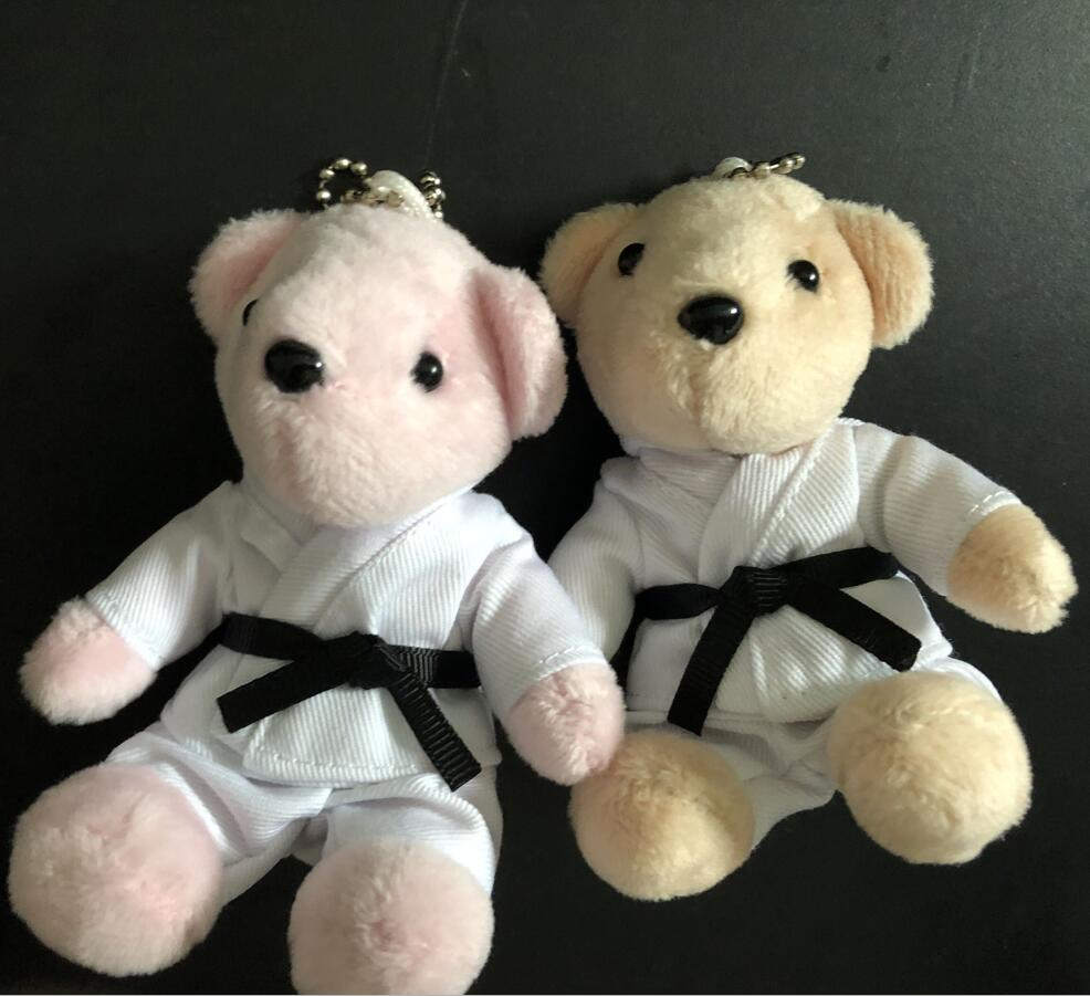 24 Pcs/lot) Karate Keychains Cartoon Sport Gifts For Kids Girls Lovely Kyokushin Karate Bear Souvenir Students Prize Plush Bears
