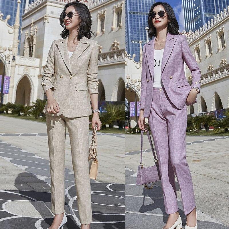 Women Pant Suits 2 pieces Set for Office Ladies Work Wear Ladies Fashion Business Formal Blazer Trousers
