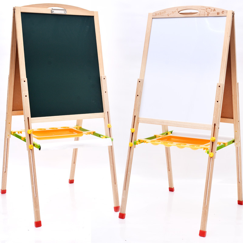 95cm Pine Height Adjustable Children Magnetic Drawing Board Double-Sided Fine Art Graffiti Wooden Easel Drawing Board Wholesale