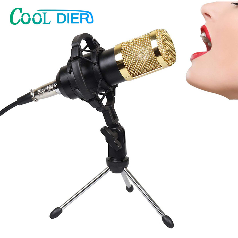 COOL DIER BM800 Professional Condenser Microphone With Shock Mount Mikrofon Condenser Sound Recording MIC For Radio Braodcasting