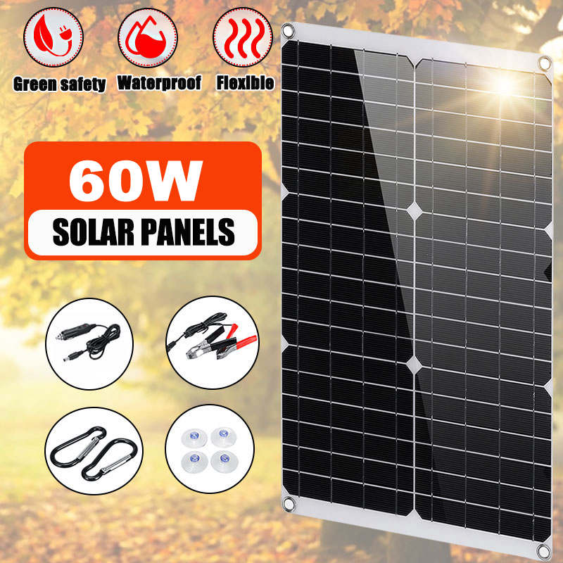 60W 12V Outdoor DIY Solar Panel Dual USB Output Solar Cells Poly Solar Panel MonoCrystalline Silicon For Car Yacht Battery Boat