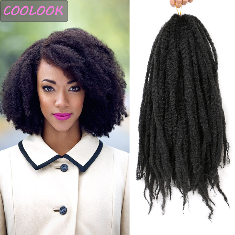 Afro Kinky Marley Braids Hair for Women 18 Inches Ombre Marley Twist Crochet Hair Synthetic Kinky Curly Braiding Hair Extensions