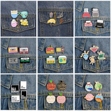 4pcs/set Enamel Pins for Backpack Typewriter Audio Tape Mood Potion Brooches Badges Fashion Pin Jewelry Gifts Friends Wholesale