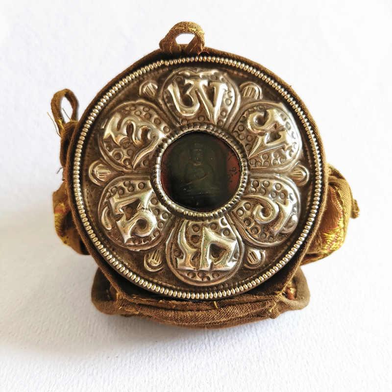 TGB222 Тибетский молельный ящик ГАУ амулет медальон с шестью словами мантры ОМ МАНИ PAD ME HUM большой круглый
