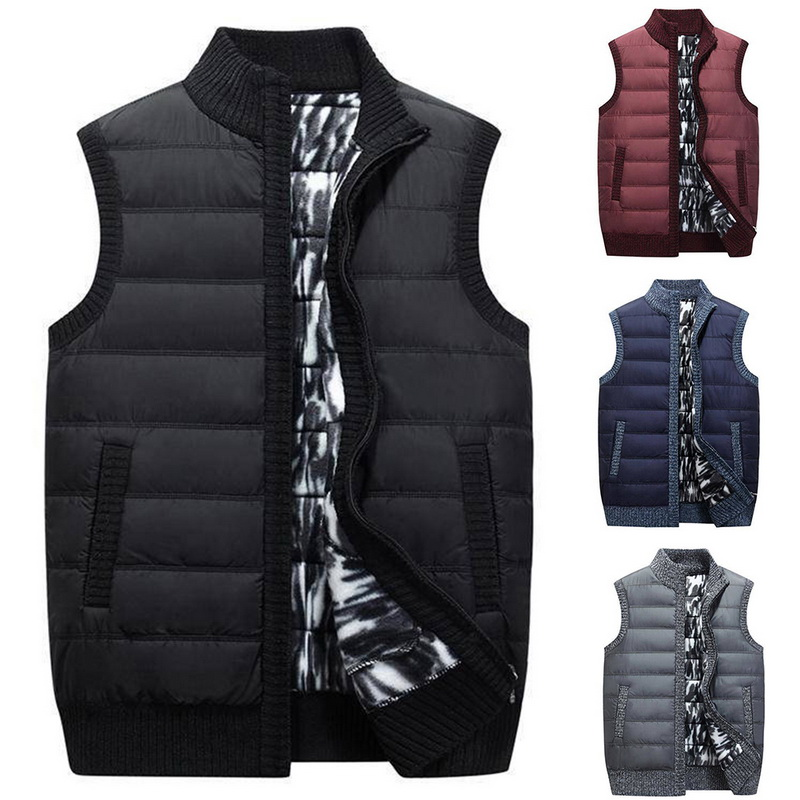 2019 Autumn Winter New Vest Men Casual Sleeveless Knitted Sweater Coat Plus Size Zipper Pockets Knitwear Chalecos Para Hombre