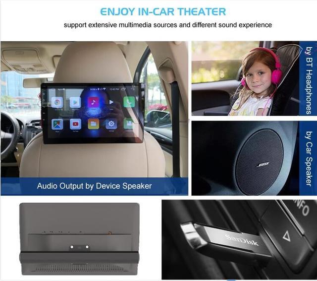 """Mejor reposacabezas del coche 10,1 """"IPS HD 1080P HD Android 8,1 4K Video reproductor WIFI/HDMI/USB/TF/BT/1GB de RAM + 16G Set LOGO APP descargar"""