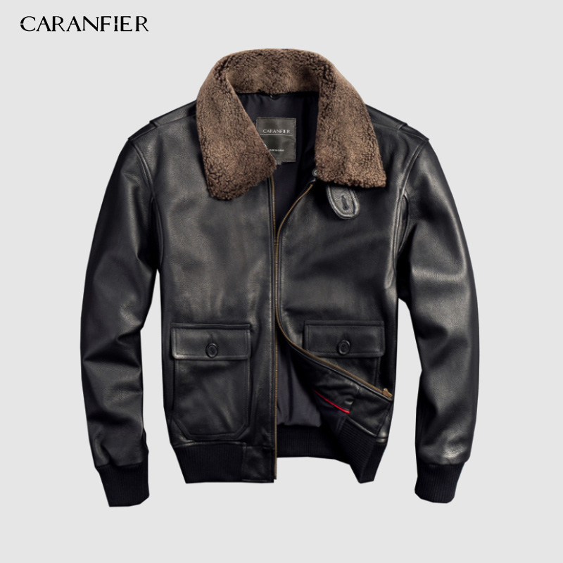 CARANFIER Air Force Flight Suit Pilot Fur Collar Thick Warm Leather Jacket Genuine Cow Leather Leather Jacket Free Shipping