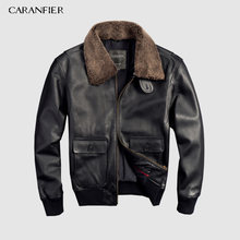CARANFIER Air Force Flight Suit Pilot Fur Collar Thick Warm Leather Jacket Genuine Cow Leather Leather Jacket Free Shipping(China)