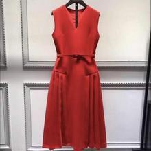 Red tea length Prom Dress Custom made
