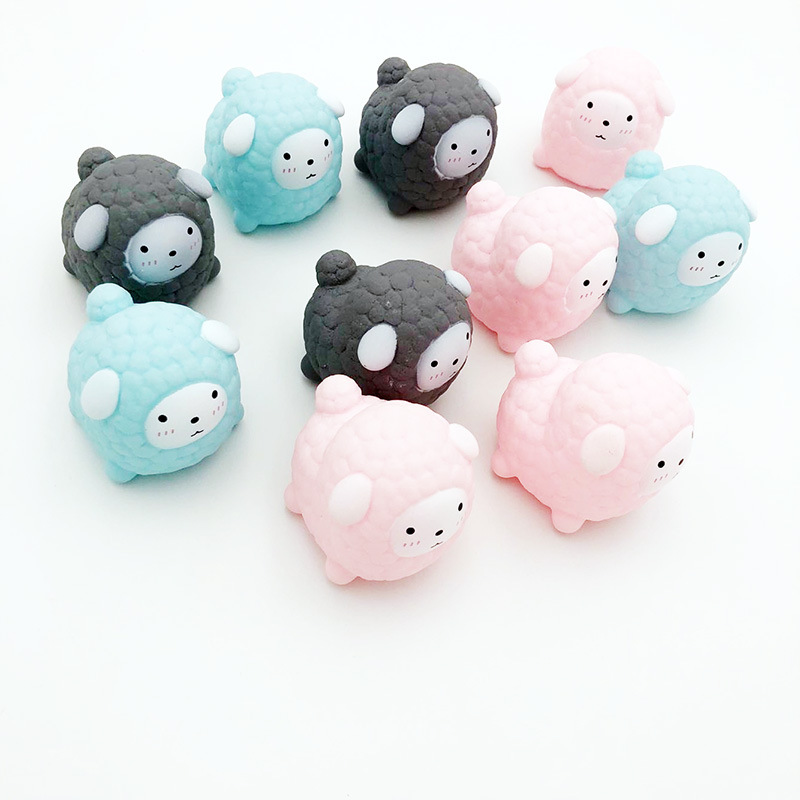 3pc New Cute Small Sample Knead Vent Decompression Creative Comic Cartoon Lamb Doll Children Water Squishies Toy Three Colors