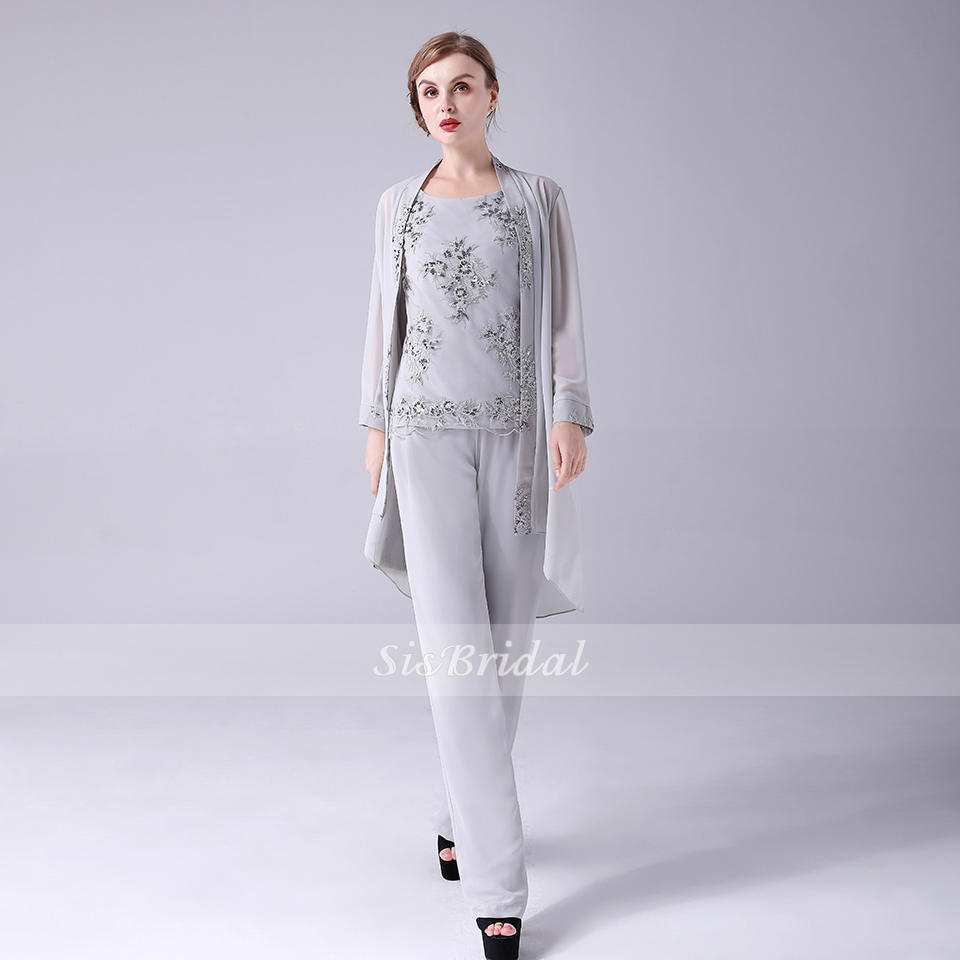Jewel Natural Chiffon Jumpsuits With Lace For Wedding Party