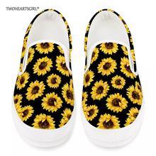 Twoheartsgirl Stylish Sunflower Print Women Vulcanize Shoes Comfortable Female S