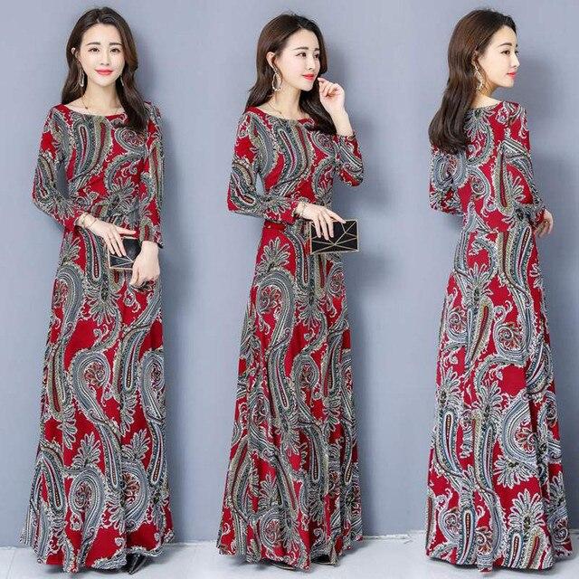 Bohemian Printing O-neck Long Dress  Long-sleeved  1