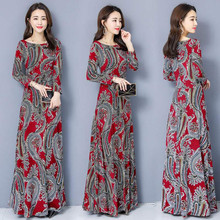 Dress Autumn Large-Size Women's Big Swing O-Neck Bohemian-Printing Japan Winter South-Korea