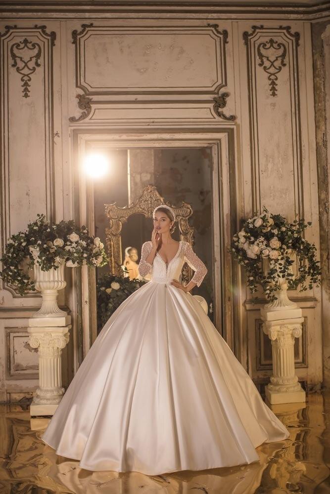 Image 4 - 2020 Mikado Royal V Neck Three Quarter Long Sleeve Backless Cathedral Wedding Dress Bridal GownWedding Dresses   -