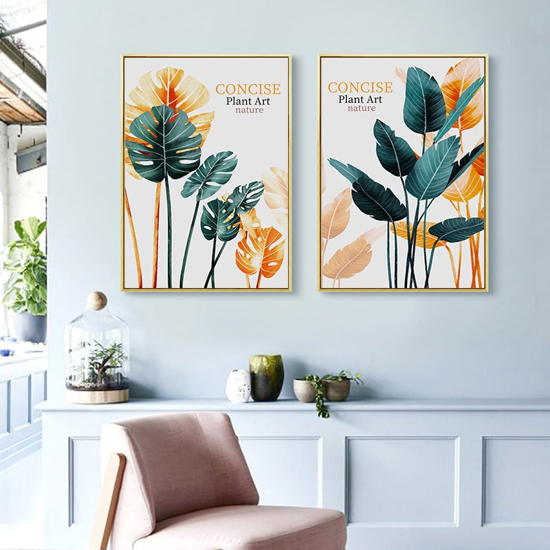 Винтажная Картина на холсте с изображением черепах листьев растений