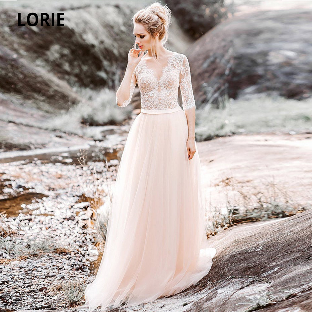 LORIE Elegant Lace Wedding Dresses Boho 2019 Half Sleeve Bridal Gowns Bohemia Beach Wedding Gown Back Pears Button Party Dress