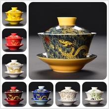 Ceramic Red/white/yellow Dragon Gaiwan Tea Set Teaware Porcelain Cup Kung Fu Teacup Hand-painted Tea Bowl Beautiful Kettle