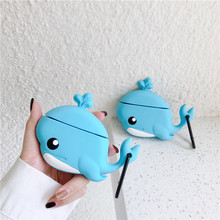 Dolphin Case For AirPods Cute Cartoon Silicone 3D Earphone Cover Air pods 1 2 Soft Accessories Funda