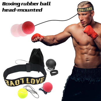 boxing reaction training ball speed ball decompression ball for gym boxing improve speed with reaction training Boxing Reflex  ball speed with Adjustable Headband head-mounted Boxing reaction training ball fitness equipments